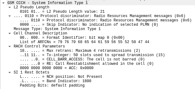 CCCH - System Information Type 1