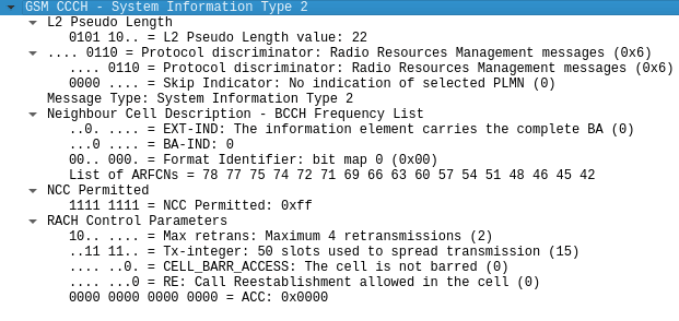 CCCH - System Information Type 2